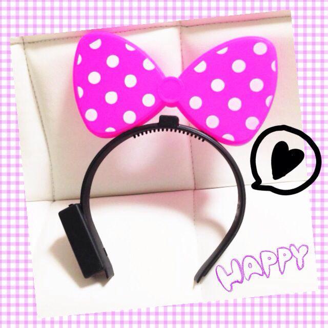 ネオンピンクライト♡リボンヘッドアクセ レディースのヘアアクセサリー(カチューシャ)の商品写真