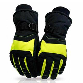 新品 男女兼用 手袋 スキー スノーボード スノーグローブ ブラック イエロー(ウエア/装備)