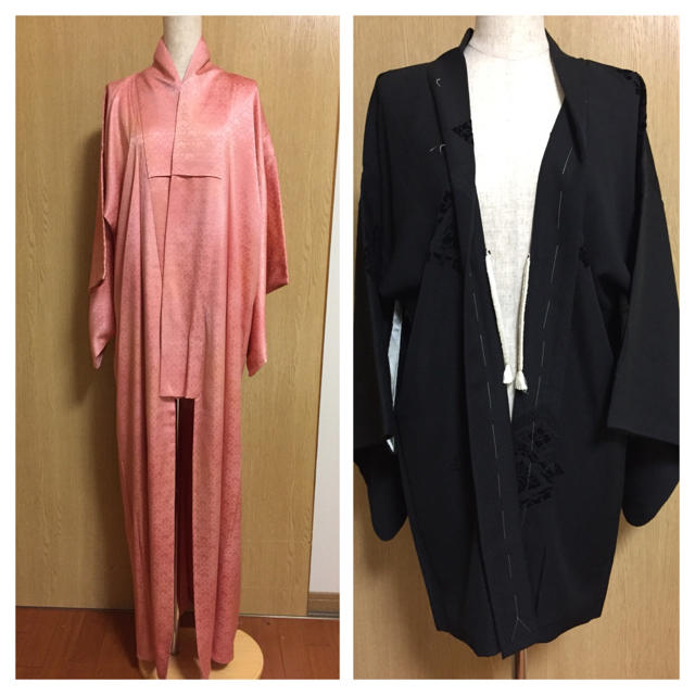色無地着物  地柄黒羽織り2点セット レディースの水着/浴衣(着物)の商品写真