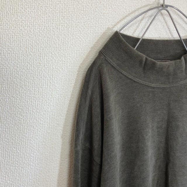 古着 コーデュロイ風素材 モックネック プルオーバー  グレー メンズ M メンズのトップス(ニット/セーター)の商品写真