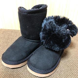キッズフォーレ(KIDS FORET)の美品 kids foret ベビー ムートンブーツ14.5 ブラック(ブーツ)