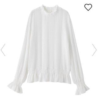 ジーユー(GU)の GU レースフリルネックt (長袖) ホワイトM(Tシャツ(長袖/七分))