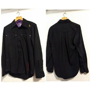 サビ(SABIT)のSABIT NYC/タノシンデ!デザイン/ブラックコットンボタンシャツ/Mサイズ(シャツ)