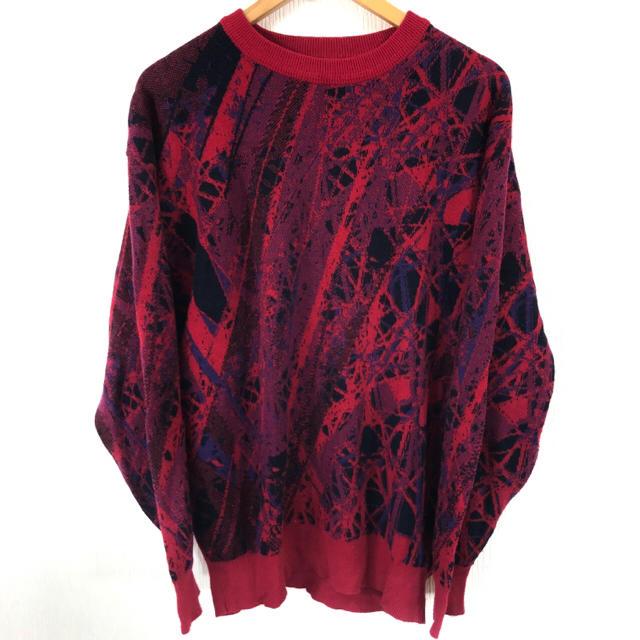 coogi 風 幾何学模様 ウールニット セーター 赤系 L  日本製 メンズのトップス(ニット/セーター)の商品写真