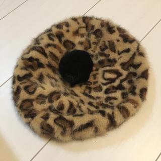 シマムラ(しまむら)のぽんぽん付きヒョウ柄ベレー帽♡(ハンチング/ベレー帽)