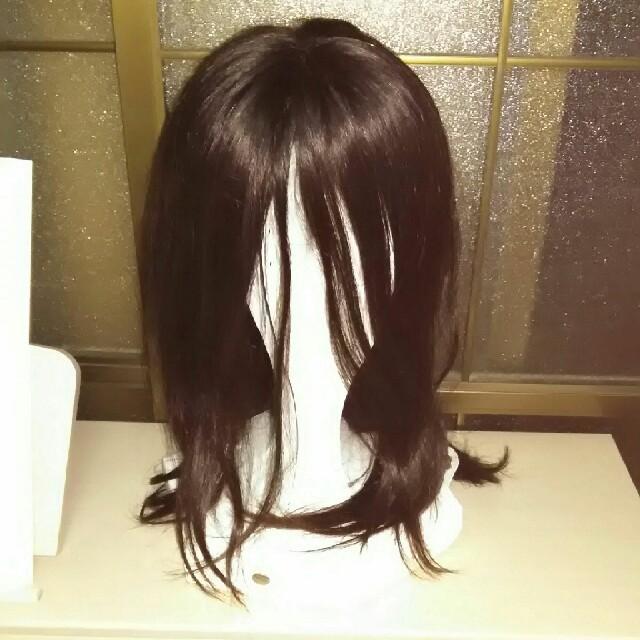 最終値下げ 新品 人毛100% 医療用ウィッグ 総手植え ダークブラウンロング レディースのウィッグ/エクステ(ロングストレート)の商品写真