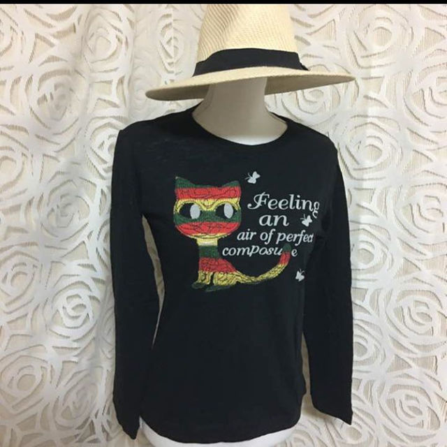 ★新品★送料無料★セール 猫 Tシャツ ブラック★M,L レディースのトップス(その他)の商品写真