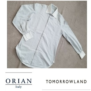 別注TOMORROWLAND×ORIAN(オリアン)クレリックストライプシャツ
