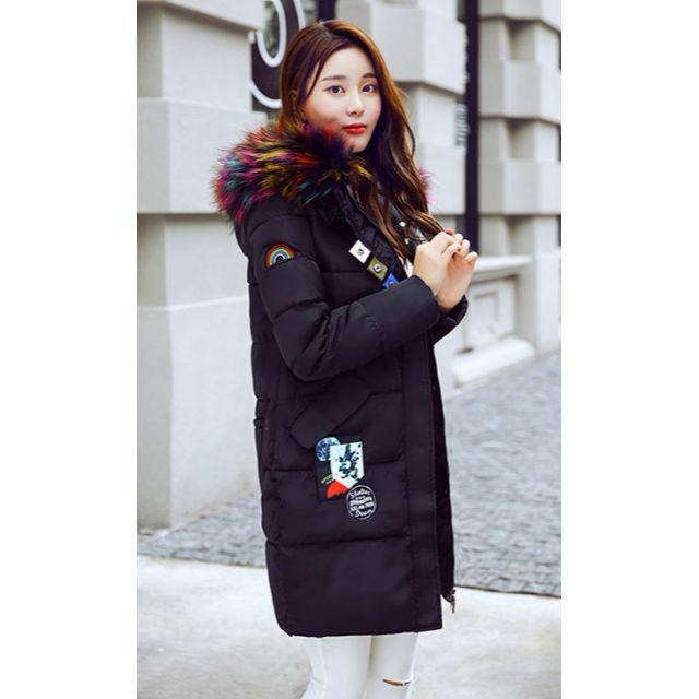 ファー フード付き  ワッペン ダウンジャケット ダウンロングコート 黒L レディースのジャケット/アウター(ダウンコート)の商品写真
