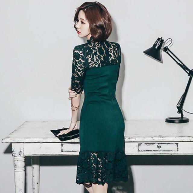 新品グリーンタイト レースワンピース パーティドレス 結婚式 レディースのフォーマル/ドレス(ミディアムドレス)の商品写真