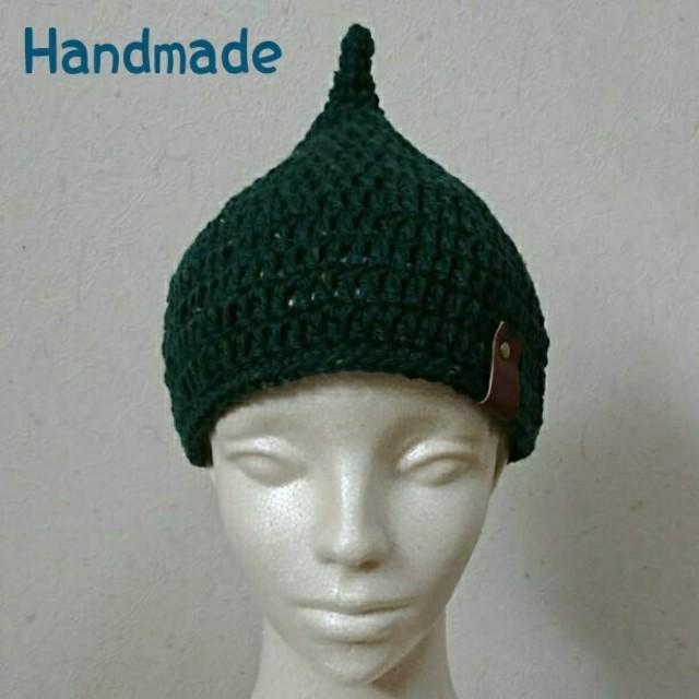 大人用どんぐり帽子【モダンツイードグリーン】 ハンドメイドのファッション小物(帽子)の商品写真
