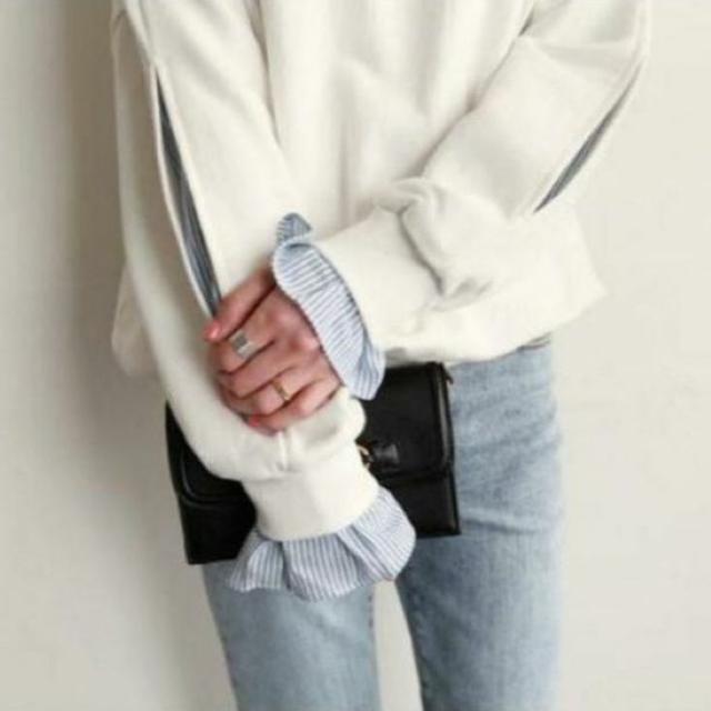 トレーナー おしゃれ 重ね着風  袖スリット ホワイト  レディースのトップス(トレーナー/スウェット)の商品写真