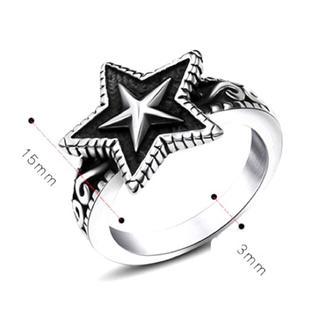 星☆着け心地良い!チタンステンレス黒墨コーティングスターリング星指輪(リング(指輪))