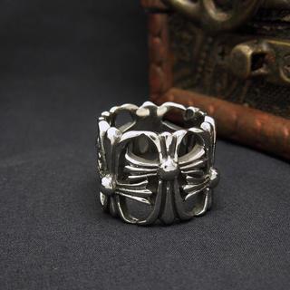 【高級品】重みあり、チタンステンレス黒墨コーティングクロスリング(リング(指輪))