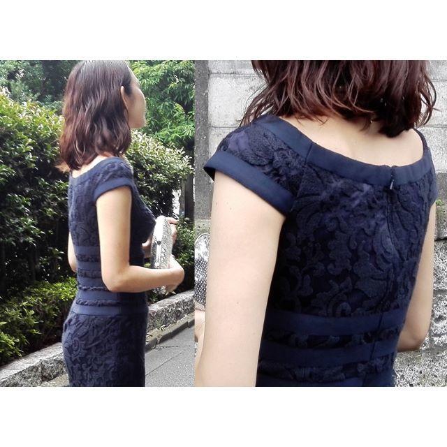TADASHI SHOJI(タダシショウジ)の【新品・格安】Tadashi shoji ネイビーロング 人気ライン6 レディースのフォーマル/ドレス(ロングドレス)の商品写真