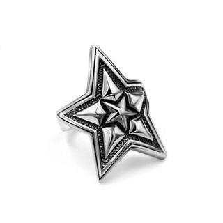 チタンステンレス黒墨コーティングスターリング星指輪 (リング(指輪))