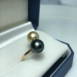 特価 K18YG二色タヒチパール、南洋パールリング(リング(指輪))