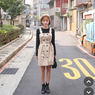 トレンチサロペットワンピース 韓国ファッション(ひざ丈ワンピース)
