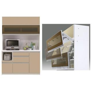 新品 フラップアップ扉の幅133cmのダイニングボード 日本製(キッチン収納)