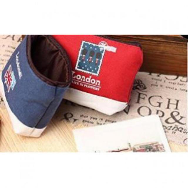 ユニオンジャック可愛い帆布財布小銭入れ収納ポーチコインケース ブルー レディースのファッション小物(ポーチ)の商品写真