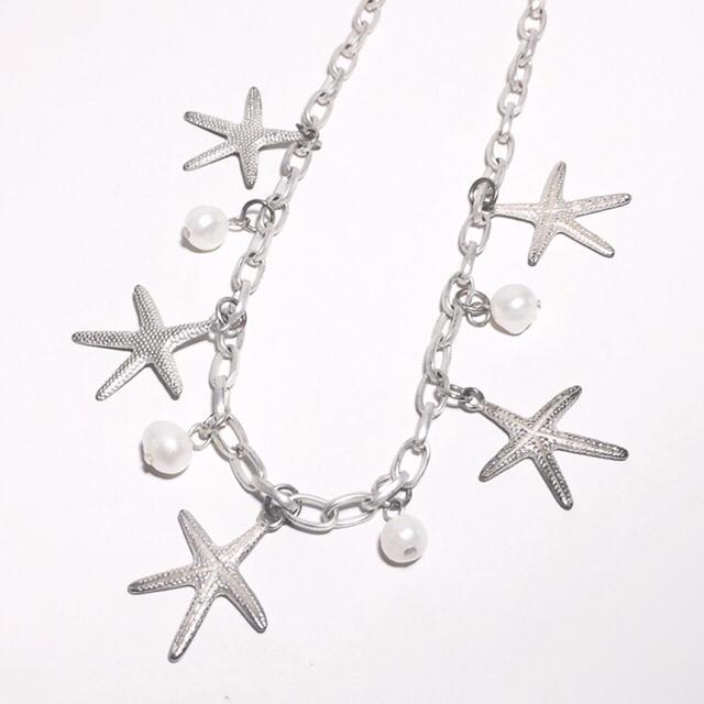 ロングネックレス シルバー ヒトデ × パール レディースのアクセサリー(ネックレス)の商品写真