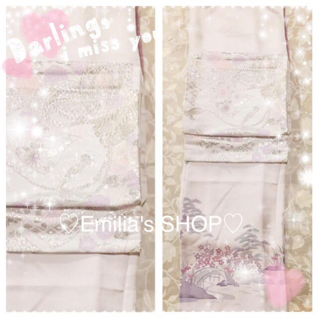 グレーお着物&帯2点セット♪松/菊/水仙 レディースの水着/浴衣(着物)の商品写真