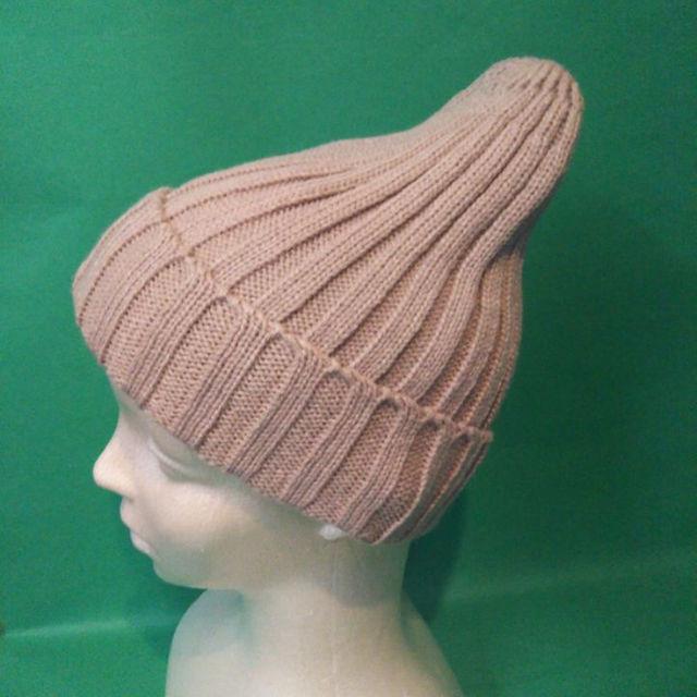 ニットキャップ☆シンプルベージュ レディースの帽子(その他)の商品写真