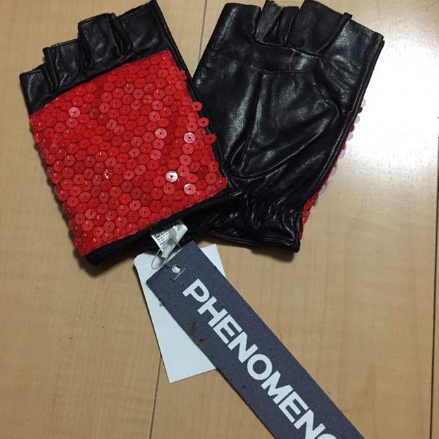 フェノメノンphenomenonスパンコール切替レザーグローブ赤 メンズのファッション小物(その他)の商品写真