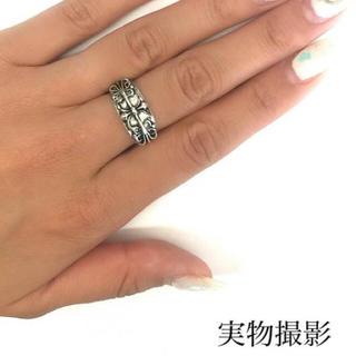 11 黒墨コーティング!フローラルクロスリング(リング(指輪))