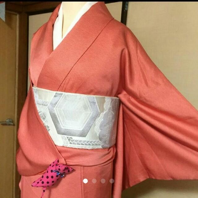 正絹/一ツ紋/鮫小紋/オレンジに近い赤 レディースの水着/浴衣(着物)の商品写真