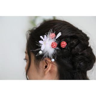 【新品、1点もの】 日本製 和柄の髪飾り ちりめん 4点セット 成人式に♪(その他)