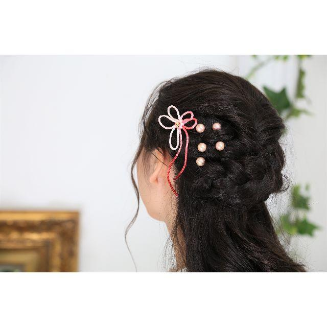 【新品、1点もの】 日本製 和柄の髪飾り ピンク パール 6点セット レディースのヘアアクセサリー(ヘアピン)の商品写真