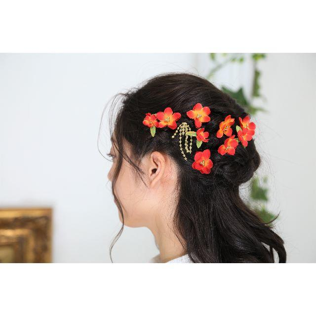 【新品、1点もの】 日本製 梅の髪飾り 赤×オレンジ 10点セット レディースのヘアアクセサリー(ヘアピン)の商品写真