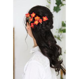 【新品、1点もの】 日本製 梅の髪飾り 赤×オレンジ 10点セット(ヘアピン)