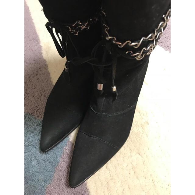 STRAWBERRY-FIELDS(ストロベリーフィールズ)の激安!未使用 ストロベリーフィールズ ブラックブーツ 23.5センチ レディースの靴/シューズ(ブーツ)の商品写真