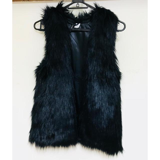 H&M(エイチアンドエム)のH&M ファーベスト ブラック レディースのジャケット/アウター(毛皮/ファーコート)の商品写真