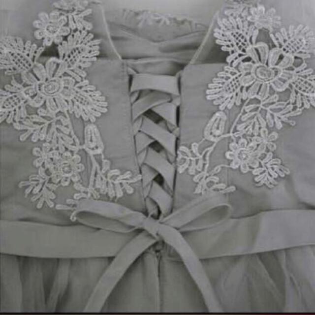 新作❤エレガント メッシュ レース 刺繍 Aライン ワンピース ドレス グレー レディースのフォーマル/ドレス(ミディアムドレス)の商品写真