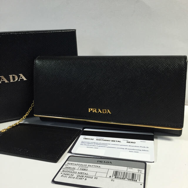 san francisco ebaa9 fba10 入手困難レア品✨新品 ゴールドプレート PRADA 長財布 財布 ブラック | フリマアプリ ラクマ