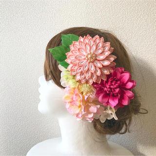【1点限定発売】つまみ細工と造花の髪飾り(ヘアアクセサリー)