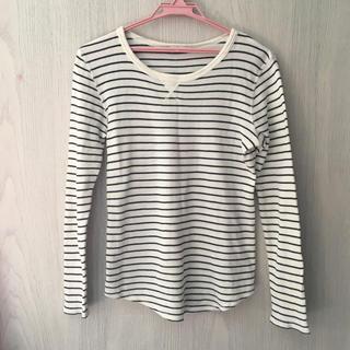 ジーユー(GU)のGU ボーダーサーマルTシャツ(Tシャツ(長袖/七分))