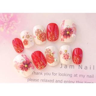 両面テープ付♡振袖、袴に♡赤とピンクの古典模様の和柄のネイルチップ♡187