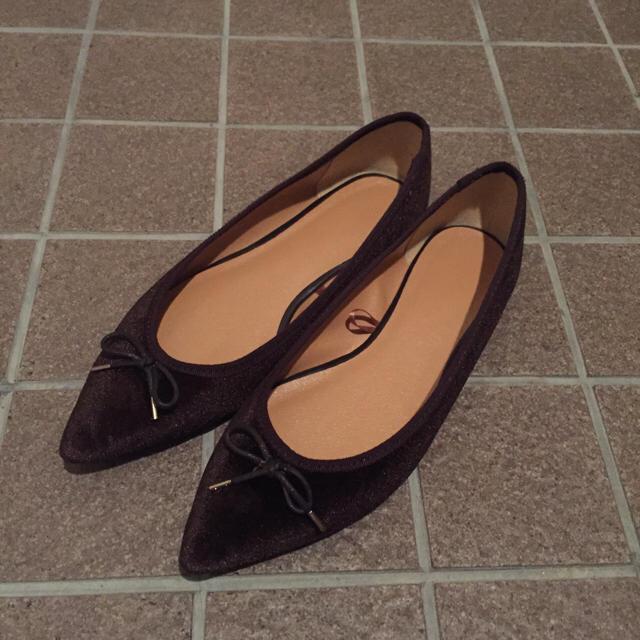 GU(ジーユー)のGU☆ベロアポインテッドバレエシューズ レディースの靴/シューズ(バレエシューズ)の商品写真