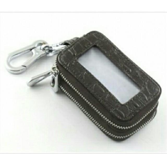 本革 クロコ型押し キーケース Wファスナー ブラック 黒 メンズのファッション小物(キーケース)の商品写真