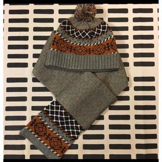 ムジルシリョウヒン(MUJI (無印良品))の無印 キッズケーブル柄マフラー・ニット帽2点セット(マフラー/ストール)