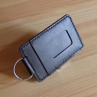 【本革・手縫い】パスケース(定期入れ二枚収納)、色:ダークブラウン(雑貨)