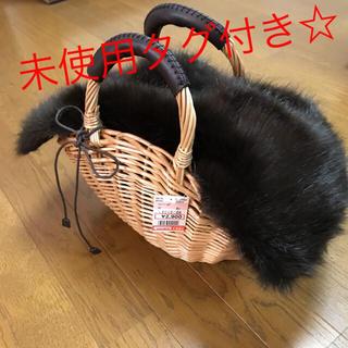 シマムラ(しまむら)の新品 タグ付き☆しまむら ファー付きかごバッグ   バスケット(かごバッグ/ストローバッグ)