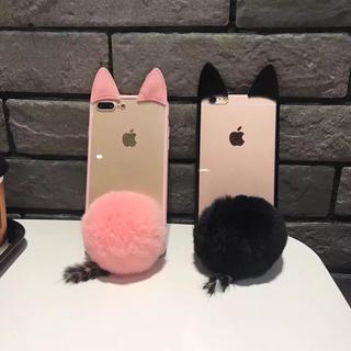 iPhone8 7携帯ケース 兎耳 かわいいふわふわ尻尾 おしゃれ 人気(iPhoneケース)