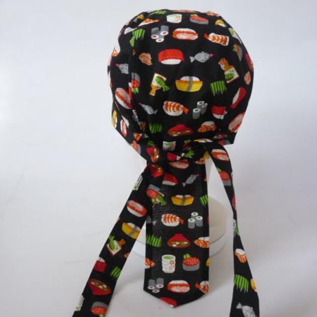 ★バンダナキャップ★ハンドメイド 和柄 寿司 黒 ハンドメイドのファッション小物(帽子)の商品写真