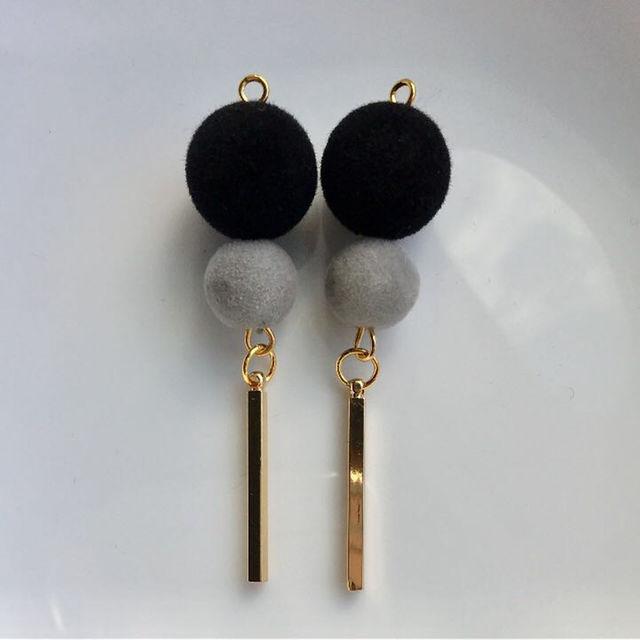 No.90 ブラック×グレー×スティックバー ピアス イヤリング ハンドメイドのアクセサリー(ピアス)の商品写真