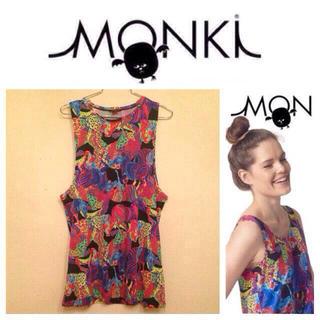 モンキ(Monki)のMONKI☆柄タンクトップ(Tシャツ(半袖/袖なし))